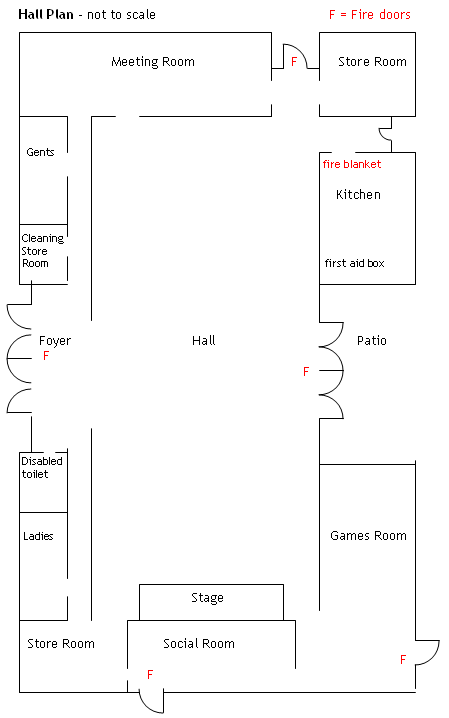 Plan of the Village Hall room layout